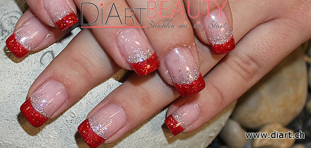 red & silver glitter nails