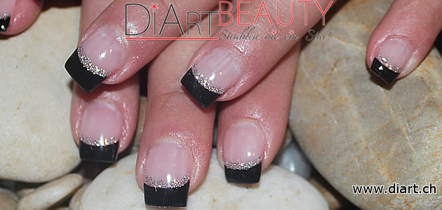 black & silver french nails