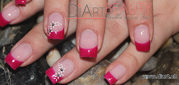pink & flower french nails
